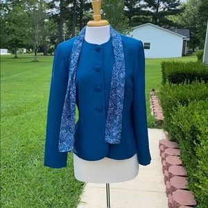 Leslie Fay Teal Jacket With Scarf.